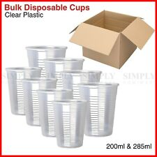 Disposable Plastic Cups Clear Reusable Drinking Water Cup Party 200ml 285ml Bulk