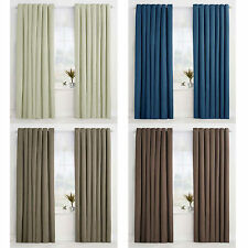 PAIR ( 2 Panels ) of Eyelet Curtains - Choice of Cream Blue Taupe 130 x 220cm
