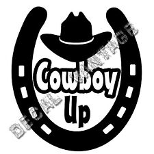 Horseshoe Cowboy Up Hat Vinyl Sticker Decal Luck Horse Shoe  Choose Size & Color