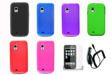 LCD + CC+ Soft Silicone Cover Case for Samsung Galaxy S Mesmerize SCH-I500 Phone