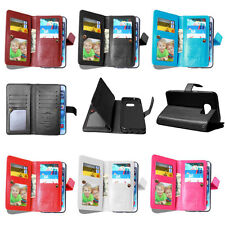 PU Leather Credit 9 Card Holder Wallet Flip Case Cover For Samsung Galaxy phone
