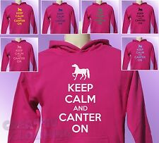 Pink Hoodie KEEP CALM and CANTER ON girls Horse Riding Pony Ride kids hoody