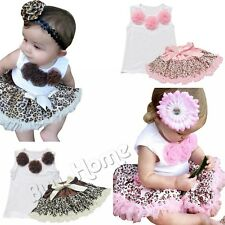 Baby Girls Top + Leopard Tutu Skirts Dress Petticoats Outfits Jumpsuits T-shirt