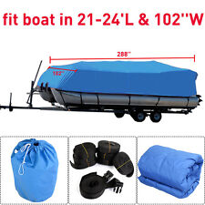 14-24 ft Heavy Duty Speedboat Boat Cover Blue Waterproof Match Fish-Ski V-Hull