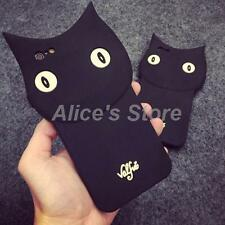 Cute Cartoon Black Cat Silicone Rubber Case Cover for Apple iPhone 5 6/6S 6Plus