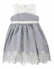Gymboree Marina Party Striped Eyelet Dress White Navy 18 24months 2T 3T 4T NEW