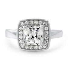 1.5 CTW Sterling Silver Princess Cut AAA CZ High Quality Halo Womens Ring