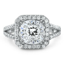 2.5 CTW Top Grade 5A CZ Cushion Cut Halo Engagement Ring Looks Real
