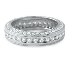 Sterling Silver Fancy Cubic Zirconia Eternity Ring Wedding Band