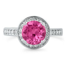Pink CZ Halo Sterling Silver Womens Fashion Cocktail Ring