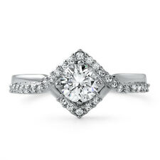 1.33 CTW Geometric Modern Small Stone CZ Engagement Ring Silver