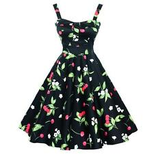 Hot Women Sexy Dress Floral Vintage 50s Pinup Party Cherry Printed Swing Dresses