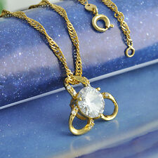 Lucky Clover Long Chain Pendant+Necklace Gold Filled 5 Colour Stone CZ Crystal