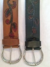"GENUINE LEATHER BELT'S, HAND TOOLED RED ROSE BUD DESIGN, 2""1/4 WIDE"