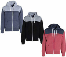 NEW MENS CONTRAST QUILTED FULL ZIP ZIPPER HOODIE HOODED TOP ELBOW PATCH S M L XL