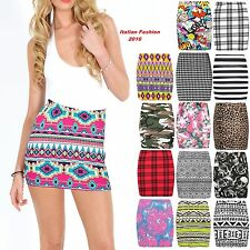 NEW LADIES BODYCON SHORT STRETCHY PRINTED MINI JERSEY WOMEN'S PENCIL SKIRT 8-14