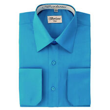 BERLIONI MEN'S CONVERTIBLE CUFF SOLID ITALIAN FRENCH DRESS SHIRT TURQUOISE