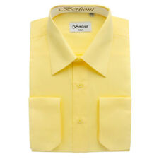 BERLIONI MEN'S CONVERTIBLE CUFF SOLID ITALIAN FRENCH DRESS SHIRT LEMON