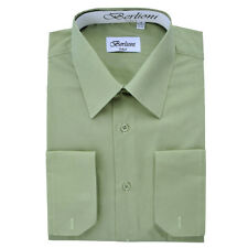 BERLIONI MEN'S CONVERTIBLE CUFF SOLID ITALIAN FRENCH DRESS SHIRT SAGE