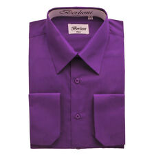 BERLIONI MEN'S CONVERTIBLE CUFF SOLID ITALIAN FRENCH DRESS SHIRT PURPLE