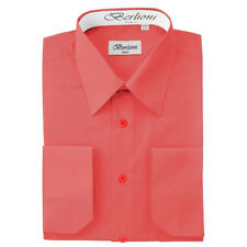 BERLIONI MEN'S CONVERTIBLE CUFF SOLID ITALIAN FRENCH DRESS SHIRT CORAL