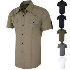 Stylish Tops Men's Military Shrit Short Sleeves Button Down Casual Dress Shrit