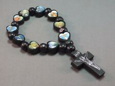 Christian Bracelet HEART Bead Saints Holy Image Crucifix BLACK or ROSEWOOD Gift!