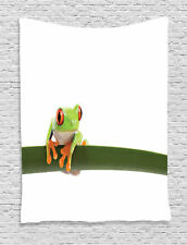Red Eyed Tree Frog Leaf Tropic Rainforest Wildlife Photo Wall Hanging Tapestry