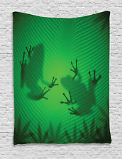 Frog Silhouette on Banana Tree Leaf Tropical Jungle Print Wall Hanging Tapestry