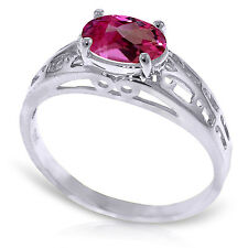 Brand New 1.15 Carat 14K   White Gold Filigree Ring Natural Pink Topaz