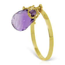 Brand New 3 Carat 14K Solid Gold Ring Dangling Briolette Purple Amethyst