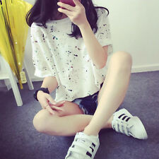Korea Women Floral Short Sleeve Loose Casual Broken Hole T-Shirt Top Blouse