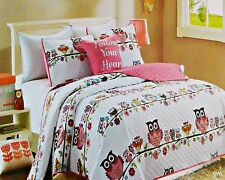 Girls Pink Owl Flower Branches Twin Full Size 3-4pc Quilt Set +Decorative Pillow