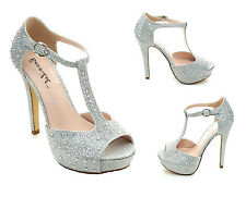 Silver High Heel Platform Sandal Rhinestone Bridal Prom Wedding Formal Womens