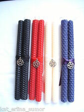 BEESWAX SPELL CANDLES....Wiccan,Pagan,Witchcraft,Gothic...With Charms + Ribbons