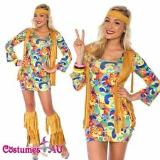 Ladies 60s 70s Retro Groovy Costume Hippie Hippy 1960s 1970s Disco Fancy Dress