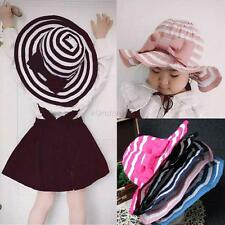 Fashion Summer Kids Baby Children Cap Stripe Bow Hats Caps Beach Sun Brim Hat