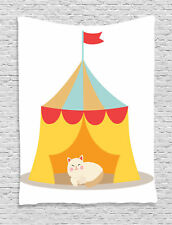 Cute Cat Kitten in a Circus Tent Cartoon Style Kids Print Wall Hanging Tapestry