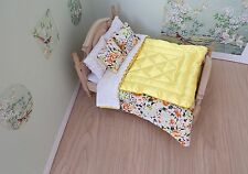 Miniature 1/12th scale dolls house BEDDING SET double bed YELLOW Eiderdown