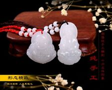 Natural White Afghan Jade Carved Pairs Buddha Kwan-Yin Lucky Pendant + Necklace