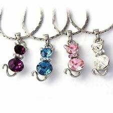 gold filled cat necklace stone pendants free shipping korean jewelry