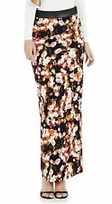 Black Cream Brown Floral Pencil Skirt with Leather Trim
