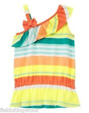 NWT Gymboree Striped Ruffle Tank Top Shirt  Sunny CITRUS 5 6 7 8 Girls