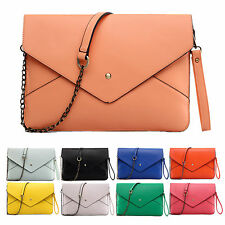 Ladies Large Synthetic PU Leather Envelope Clutch Bag