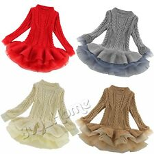 Skirts Dress Girls Kids Long Sleeve Knitted Woolen Dress Pullover Outfit Sweater