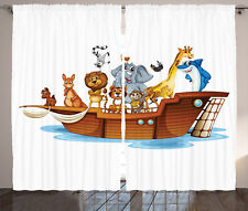 Illustration of Animals Sailing in Boat Journey Story Art Curtain 2 Panels Set
