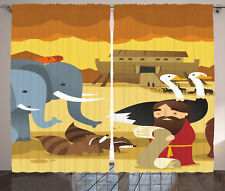 Noah with Animals and Ark Elephant Emu Racoon Birds Print Curtain 2 Panels Set