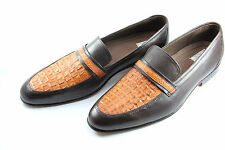 Handmade mens Tan Color Crocodile Horn Back Leather Shoes, Men Crocodile Shoes