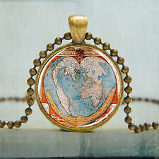 World Map Necklace Map Jewelry Vintage Atlas Art Pendant Photo Charm Pendant