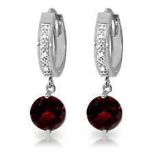 2.53 CTW 14K Solid White Gold Hoop Earrings Diamond Garnet